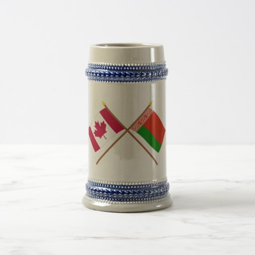 Canada and Belarus Crossed Flags 18 Oz Beer Stein