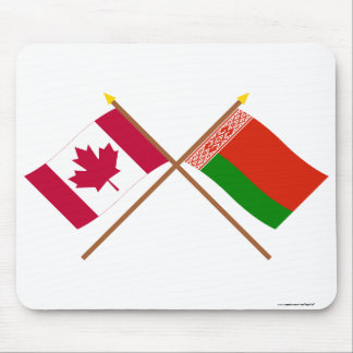 Canada and Belarus Crossed Flags Mouse Pad