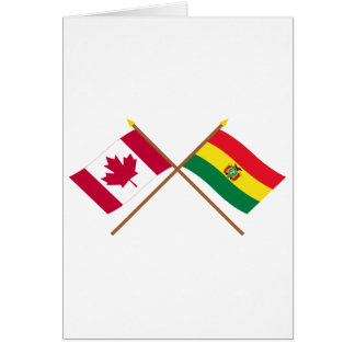 Canada and Bolivia Crossed Flags Greeting Card