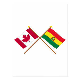 Canada and Bolivia Crossed Flags Postcards