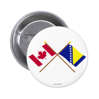 Canada and Bosnia Herzegovina Crossed Flags Button