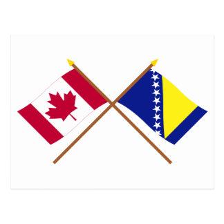 Canada and Bosnia & Herzegovina Crossed Flags Postcard