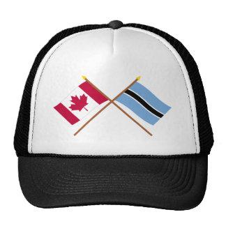 Canada and Botswana Crossed Flags Mesh Hats