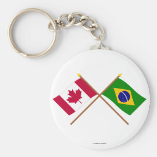 Canada and Brazil Crossed Flags Keychain