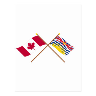 Canada and British Columbia Crossed Flags Post Cards