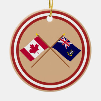 Canada and British Virgin Islands Crossed Flags Double-Sided Ceramic Round Christmas Ornament