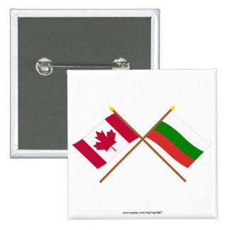 Canada and Bulgaria Crossed Flags Button