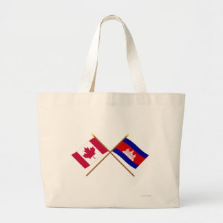Canada and Cambodia Crossed Flags Jumbo Tote Bag