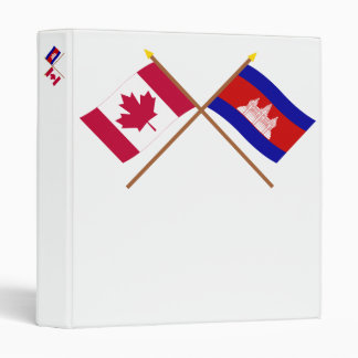Canada and Cambodia Crossed Flags 3 Ring Binders