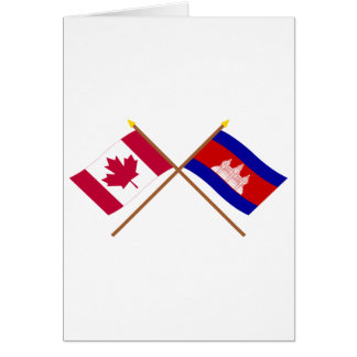 Canada and Cambodia Crossed Flags Card