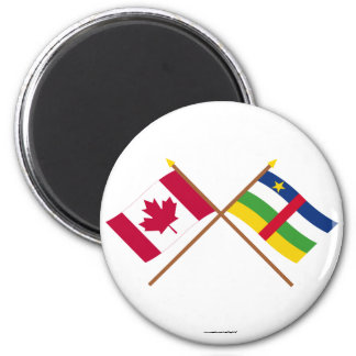 Canada and Central African Republic Crossed Flags 2 Inch Round Magnet