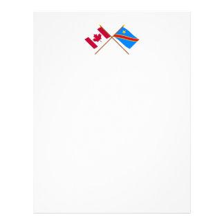 Canada and Congo Democratic Republic Crossed Flags Letterhead Template