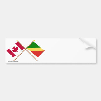 Canada and Congo Republic Crossed Flags Bumper Sticker