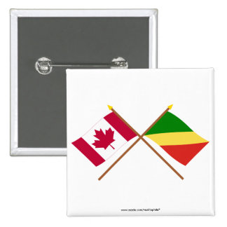 Canada and Congo Republic Crossed Flags Buttons