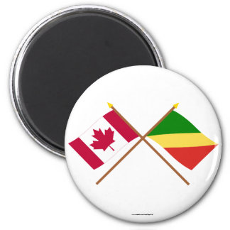 Canada and Congo Republic Crossed Flags Fridge Magnet