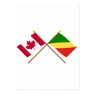 Canada and Congo Republic Crossed Flags Postcard