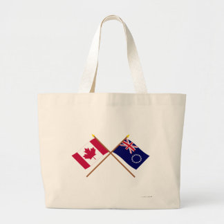 Canada and Cook Islands Crossed Flags Jumbo Tote Bag