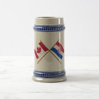 Canada and Croatia Crossed Flags 18 Oz Beer Stein