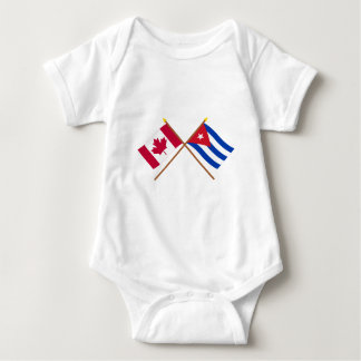 Canada and Cuba Crossed Flags Baby Bodysuit