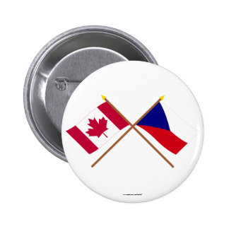 Canada and Czech Republic Crossed Flags 2 Inch Round Button