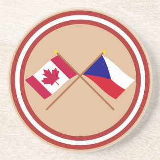 Canada and Czech Republic Crossed Flags Coaster