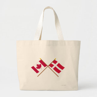 Canada and Denmark Crossed Flags Jumbo Tote Bag
