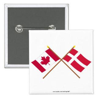 Canada and Denmark Crossed Flags Button