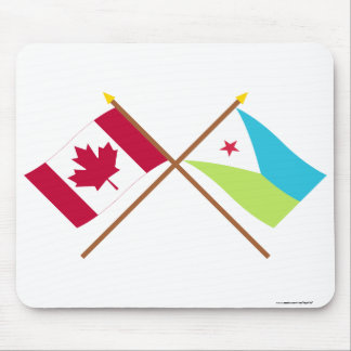 Canada and Djibouti Crossed Flags Mouse Pad