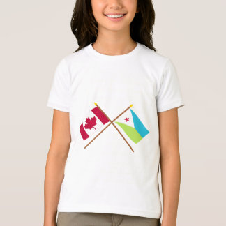 Canada and Djibouti Crossed Flags T-Shirt