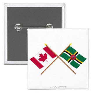 Canada and Dominica Crossed Flags Pinback Buttons