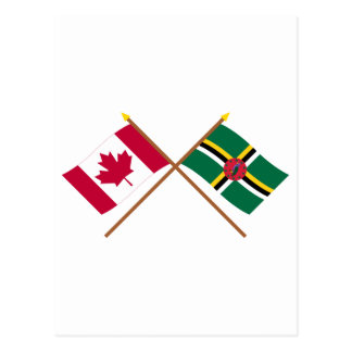 Canada and Dominica Crossed Flags Postcard