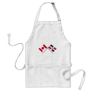 Canada and Dominican Republic Crossed Flags Adult Apron