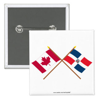 Canada and Dominican Republic Crossed Flags Pinback Button