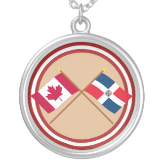 Canada and Dominican Republic Crossed Flags Silver Plated Necklace