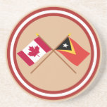 Canada and East Timor Crossed Flags Beverage Coaster