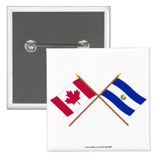 Canada and El Salvador Crossed Flags Pinback Buttons