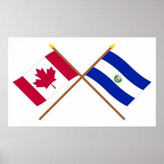 Canada and El Salvador Crossed Flags Poster