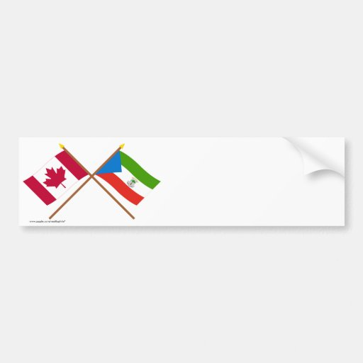 Canada and Equatorial Guinea Crossed Flags Bumper Sticker