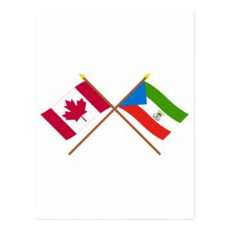 Canada and Equatorial Guinea Crossed Flags Postcard