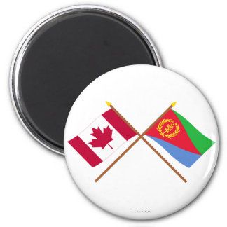 Canada and Eritrea Crossed Flags 2 Inch Round Magnet