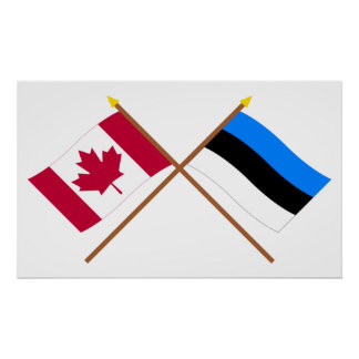 Canada and Estonia Crossed Flags Poster