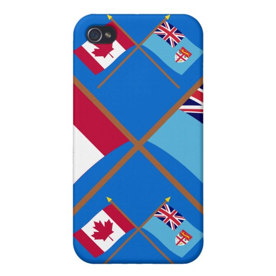 Canada and Fiji Crossed Flags iPhone 4 Case