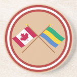 Canada and Gabon Crossed Flags Drink Coaster
