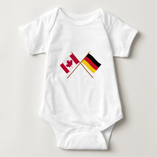 Canada and Germany Crossed Flags Baby Bodysuit
