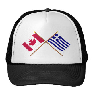 Canada and Greece Crossed Flags Trucker Hat