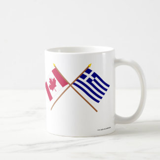 Canada and Greece Crossed Flags Classic White Coffee Mug