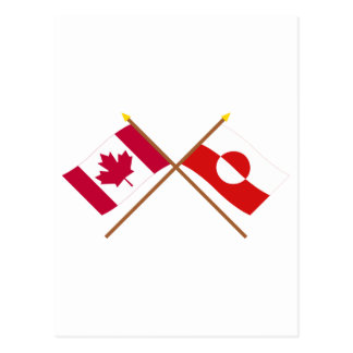 Canada and Greenland Crossed Flags Postcard
