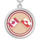 Canada and Greenland Crossed Flags Round Pendant Necklace