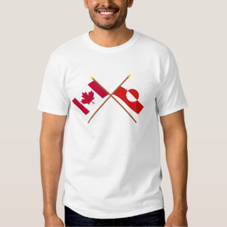 Canada and Greenland Crossed Flags T Shirt
