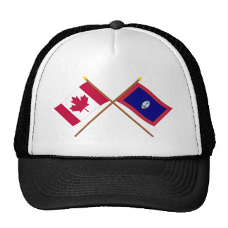 Canada and Guam Crossed Flags Trucker Hat